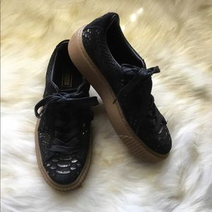 Puma black/gold snakeskin suede platform sneakers